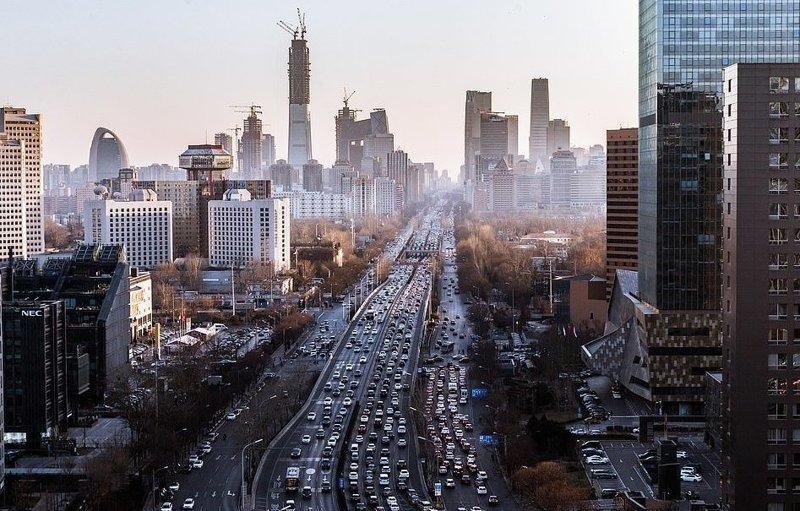 Одна из центральных магистралей Пекина виды, города, китай, красота, необыкновенно, пейзажи, удивительно, фото