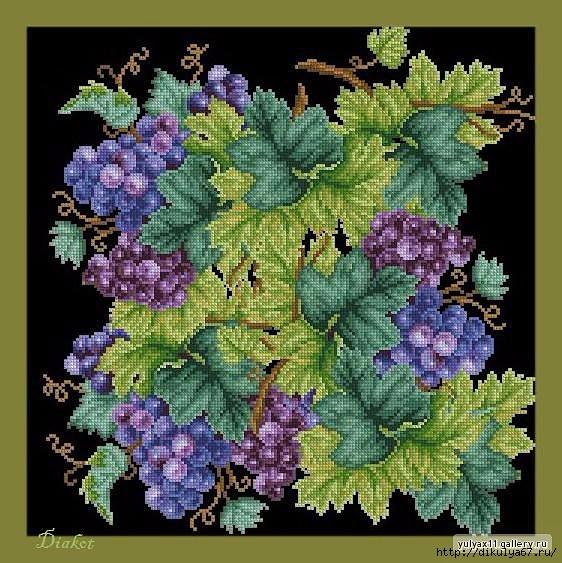 """Схемы для вышивки крестом """"Гроздья винограда"""".  Прекрасно подходит для украшения подушки"""