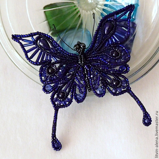Brooches handmade. Livemaster - handmade. Buy Brooch 'The Lacemaker'. Blue butterfly bead.Brooch, blue butterfly, insects