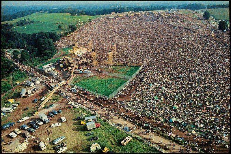 Вид Вудстокского рок-фестиваля с воздуха, 1969 история, классика, фото