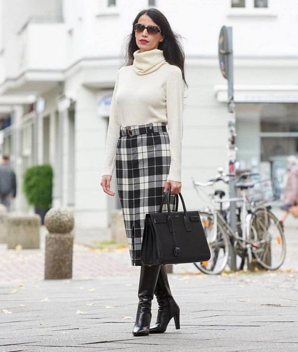 фото с чем носить юбки зимой
