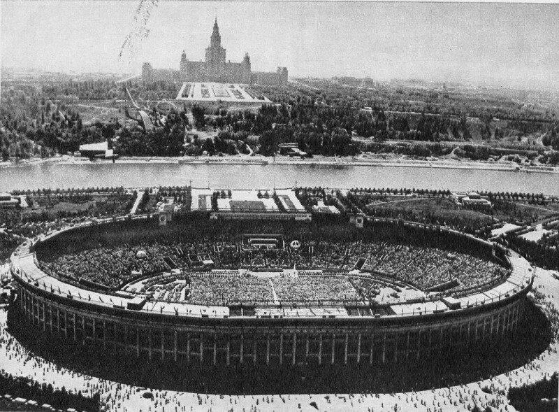 Вид на стадион Лужники, 1975 год. Фотограф: Василий Егоров. история, ретро, фото