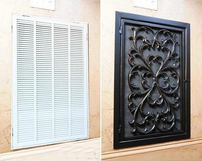 Вместо обычной решетки вентиляции купите декоративную.