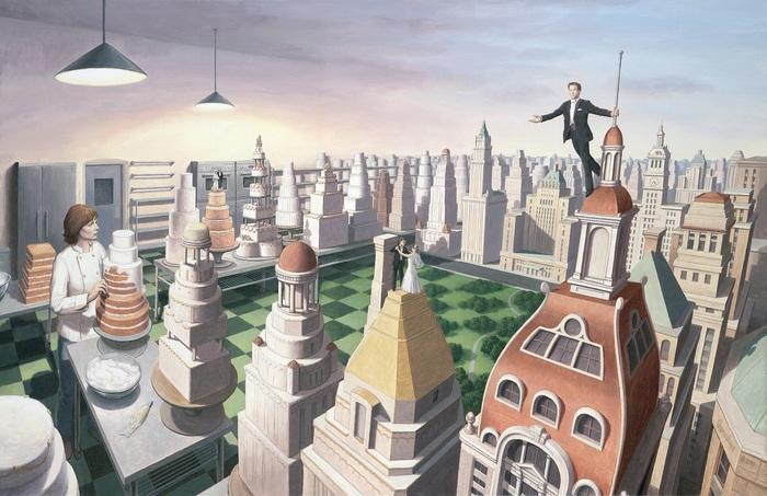 Магические иллюзии и живописные головоломки от художника-фантазёра иллюстрация