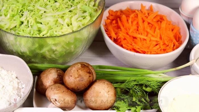 Запеканка из молодой капусты с грибами овощные блюда