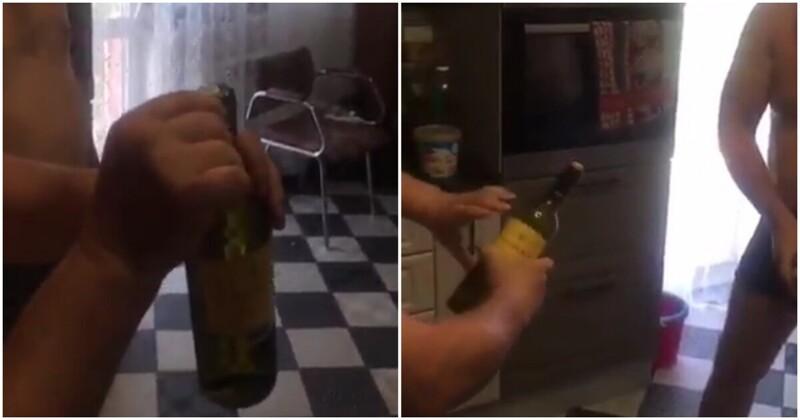 Оригинальный способ открыть бутылку вина без штопора вино