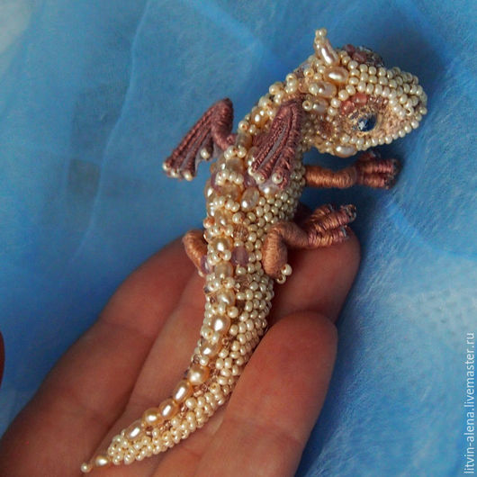 "Brooches handmade. Livemaster - handmade. Buy Brooch dragon ""Pearl "". Pearls and beads. Embroidered dragon.Brooch"