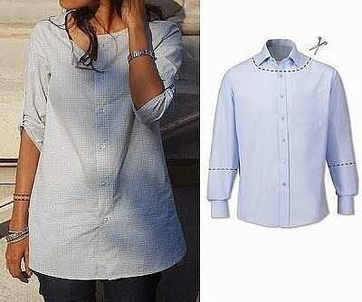 Идеи переделок из мужской рубашки мастер-классы,одежда,разное,шитье