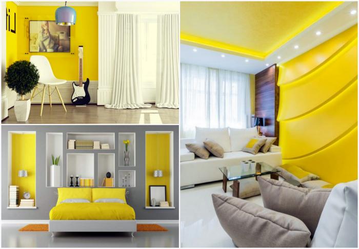 Оттенки желтого цвета в интерьере.