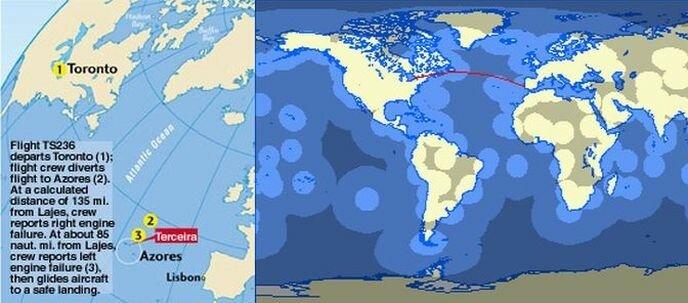 Маршрут ночного рейса TSC236 авиалайнера Airbus A330 из Торонто в Лиссабон 24 августа 2001 года, завершившегося на Азорских островах утром этого же дня