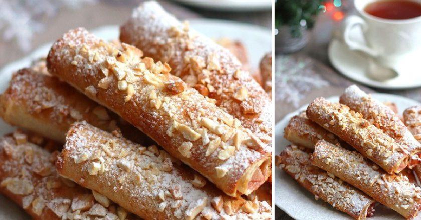 Трубочки из тостового хлеба: простой, но сытный завтрак