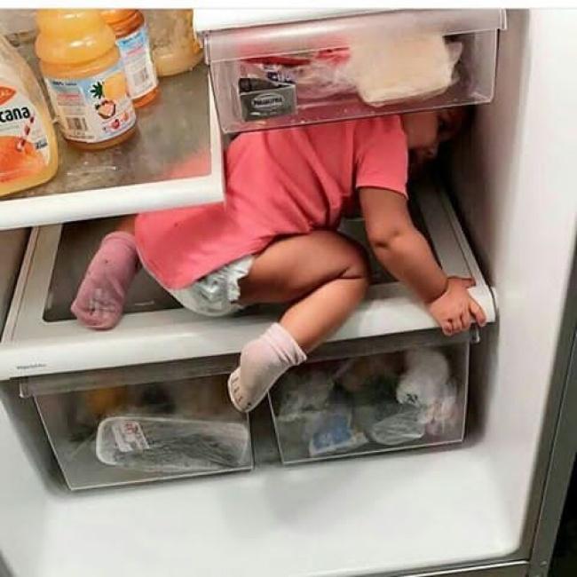 вот младший спрятался в холодильнике фото случайно