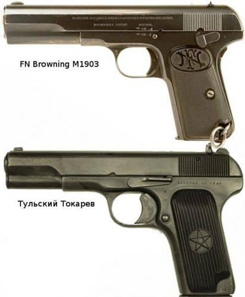 Что общего у пистолета ТТ и пистолетов Браунинга оружие