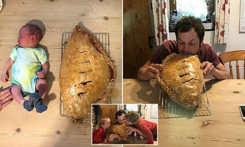 Отец испек пирог размером со своего новорожденного сына
