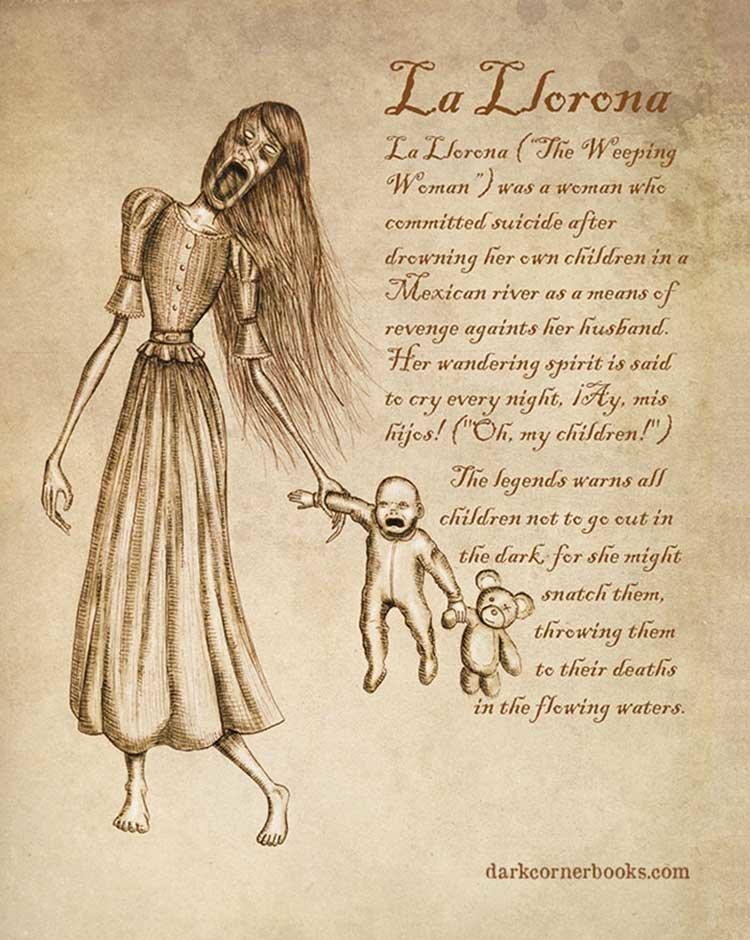 6. Ла Йорона (La Llorona) жуть, иллюстрация, мифические существа, рисунок