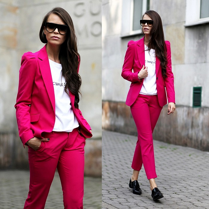 Розовый + белый - свежий и лаконичный образ. / Фото: krasotka.cc