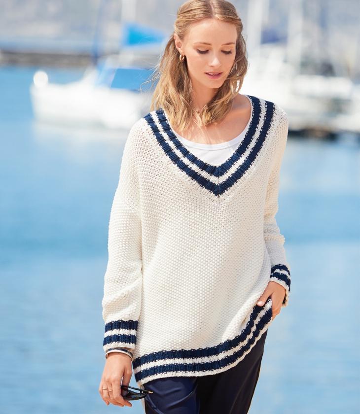 Пуловер оверсайз в морском стиле вязание