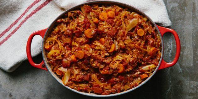 Рецепты с капустой: Рагу с капустой, говядиной и полбой