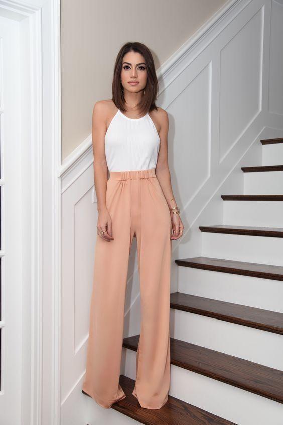Персиковые брюки палаццо