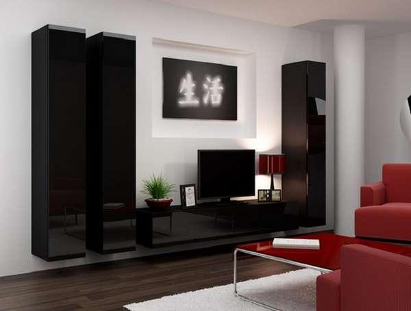 стенка навесная в гостиную в современном стиле, фото 4