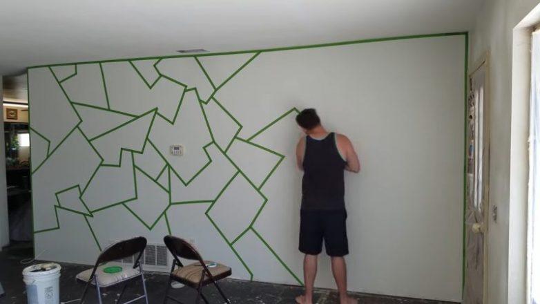 Акцент на стену при помощи простой клейкой ленты декор,лайфхак,малярная лента,мастер-класс,стены