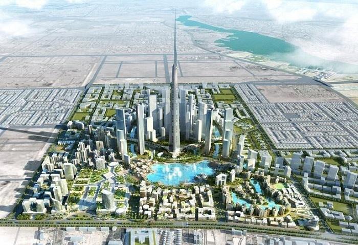 Королевская башня высотой 1007 метров на макете города будущего (Jeddah Economic City, Саудовская Аравия). | Фото: https://thetowerinfo.com.