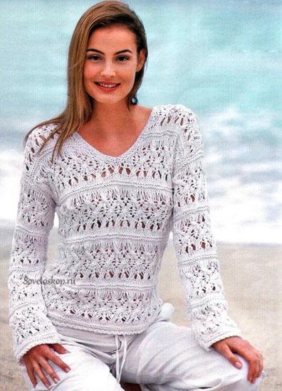 Ажурный пуловер с V -образным вырезом