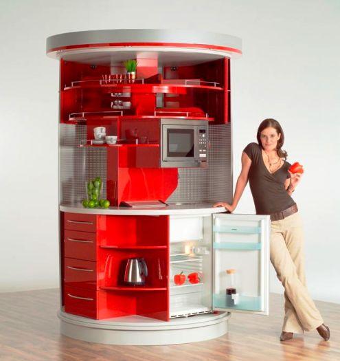 Многое в малом — вращающающаяся компактная кухня. Просто мечта!