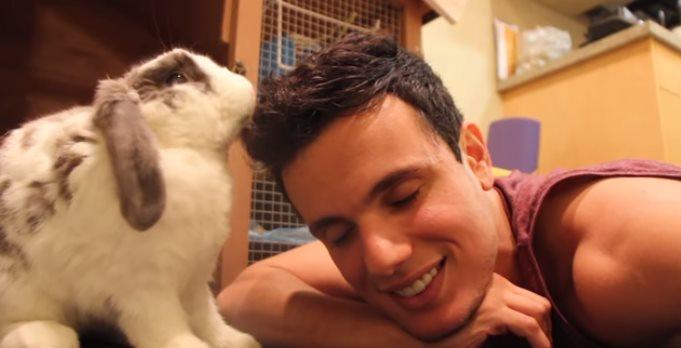 Трогательная встреча кролика с хозяином после долгой разлуки. Вот это эмоции супер