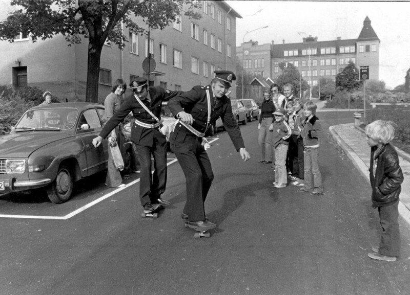 Шведские копы высекают на скейтах, 1976 год. история, ретро, фото