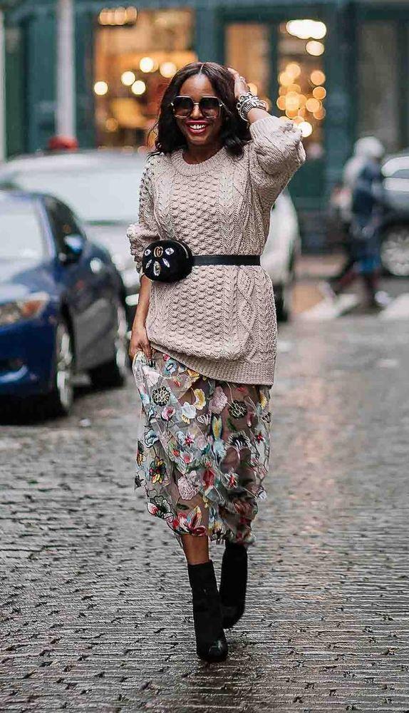 Утепляемся к осени: 35 образов с длинной юбкой или платьем, фото № 19