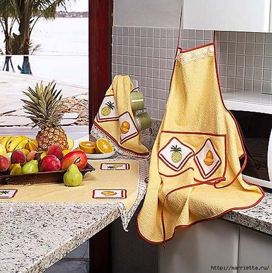 Цитрусовая вышивка для фартука и кухонного полотенца — со схемой