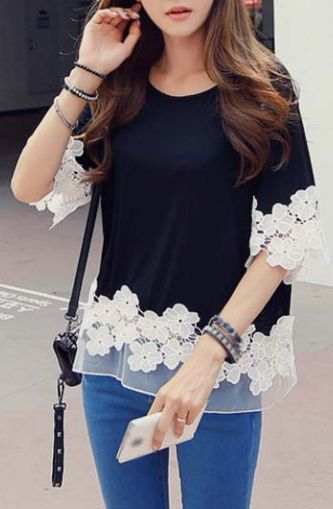 Fashionable Half Sleeve Lace Splicing T Shirt Black: