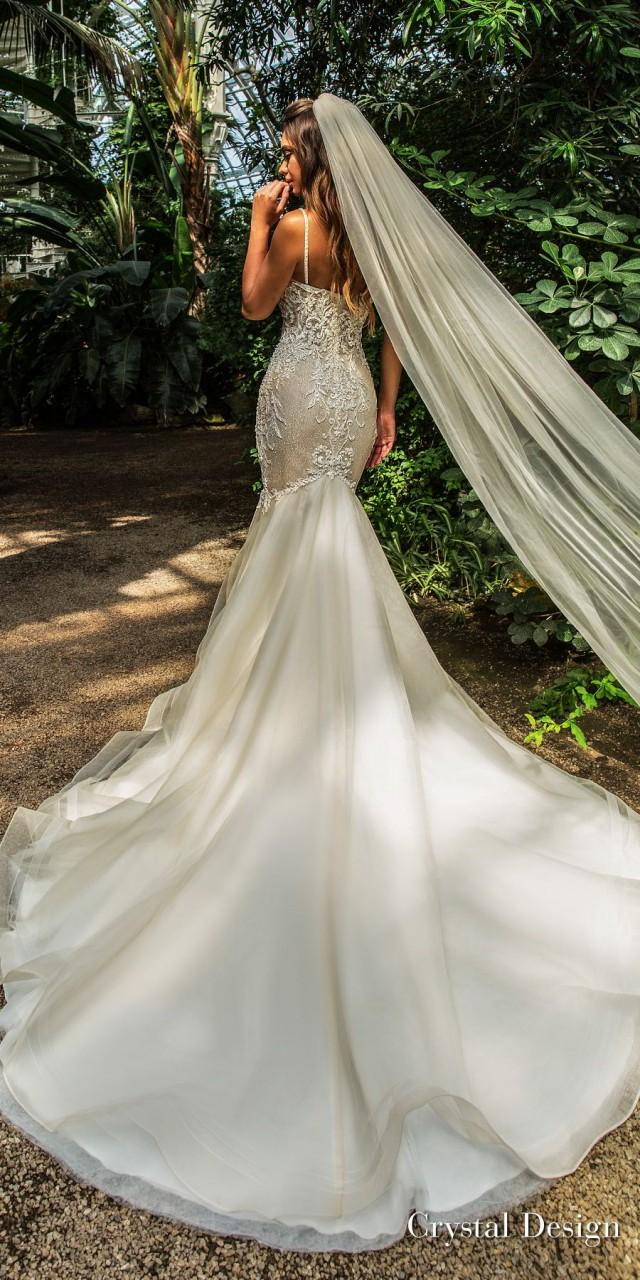 crystal design 2018 sleeveless spaghetti strap sweetheart neckline heavily embellished bodice elegant mermaid wedding dress chapel train (jaclyn) bv
