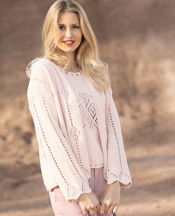 Женственный комплект-двойка нежно-розового цвета спицами