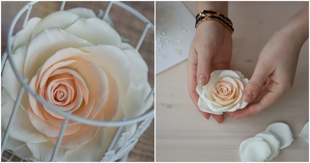 Необыкновенно красивую розу из фоамирана не отличить от живой! А главное сделать можно за пару шагов