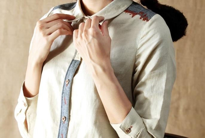Рубашка с цветными строчками