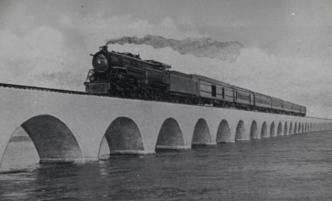 Florida East Coast Railway, Key West Extension. Train on the Long Key Viaduct. Photo from the Monroe County Library Collection.