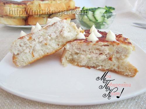Бутерброды с фаршем на сковороде или ленивые пирожки или ленивые котлеты