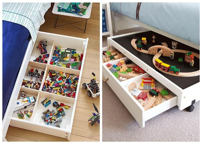 Выдвижные ящики на колесиках можно использовать для хранения детских игрушек. | Фото: yandex.com.