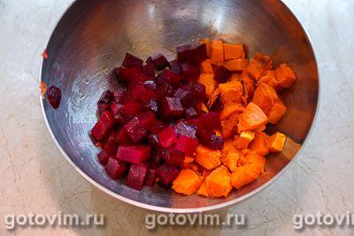 Салат из печеной тыквы со свеклой и брынзой, Шаг 05