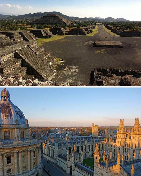 Цивилизация Ацтеков и университет в Оксфорде.