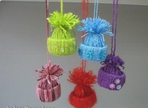 Забавные шапочки для украшения ёлки