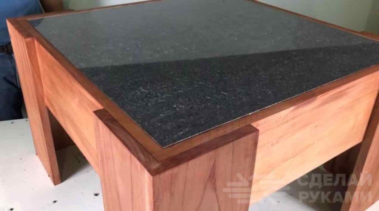 Журнальный столик из досок и керамогранита