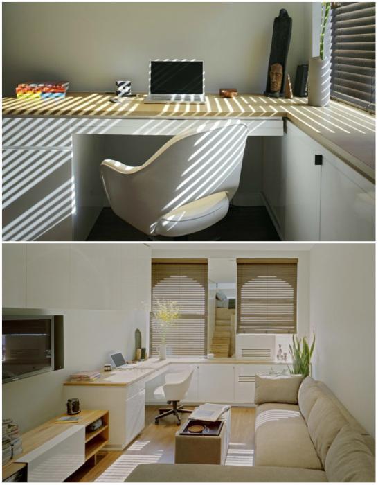 Вторую часть площади можно использовать как гостиную, столовую и рабочий кабинет (E-Village Studio). | Фото: archilovers.com.
