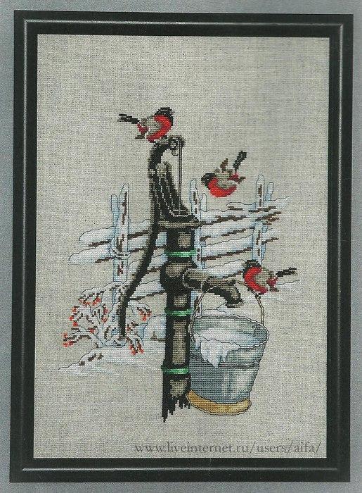 """Вышивка крестом - """"Снегири"""" и схемы к ней"""