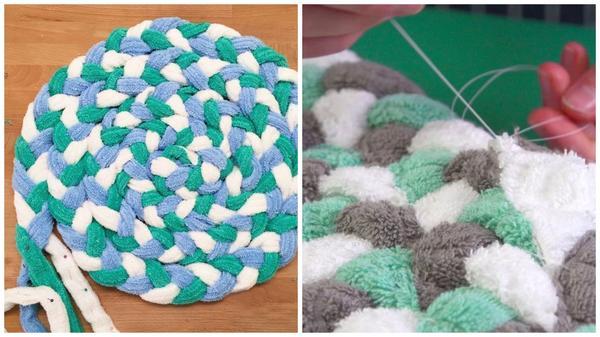 Мягкие коврики из полотенец