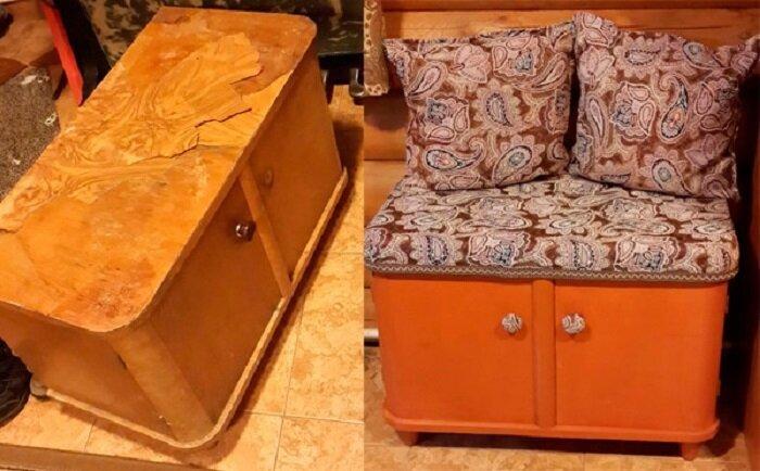 Пуфик из старой тумбочки. А почему бы и нет? до и после, идея, мебель, ремонт, своими руками, фантазия