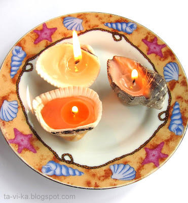 Свечи в ракушках - мастер-класс