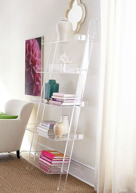 31 acrylic leaning bookshelf looks cool in this glam girlish space